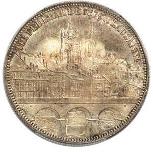 Switzerland: Confederation 5 Francs 1876 (Lausanne) MS65 NGC