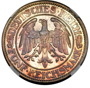 Germany: Weimar Republic Proof 5 Mark 1932-A PR65 NGC