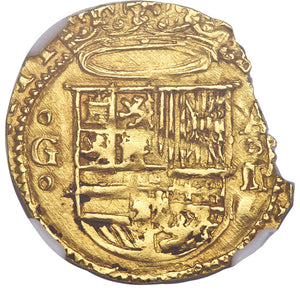 Spain: Philip II gold Cob Escudo ND (1556-98) G-M MS62 NGC