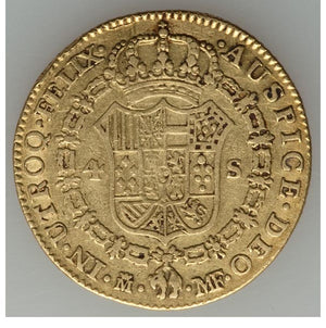 Spain: Charles IV gold 4 Escudos 1791M-MF