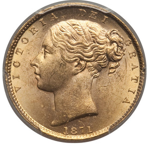 Great Britain: Victoria gold Sovereign 1871 MS63 PCGS