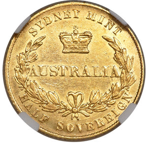 Australia: Victoria gold 1/2 Sovereign 1858-Sydney AU Details (Harshly Cleaned) NGC