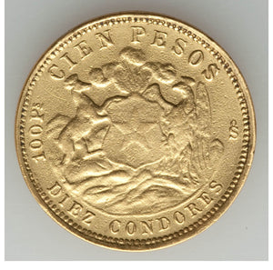 Chile: Republic gold 100 Pesos 1926-So VF - Polished, Contact Marks