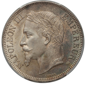 France: Napoleon III 5 Francs 1867-BB MS64 PCGS