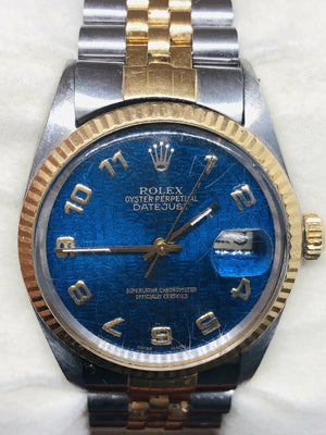 1987 Rolex Datejust Mens 2T 18K Gold Steel Watch Jubilee Band Blue Dial 16013