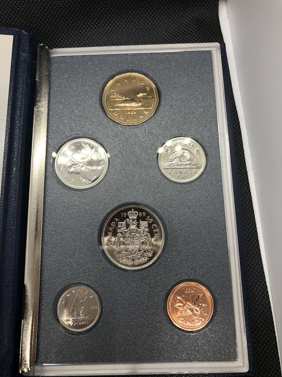 1989 ROYAL CANADIAN MINT SET 6 PIECE COINS IN ORIGINAL COA & BOX