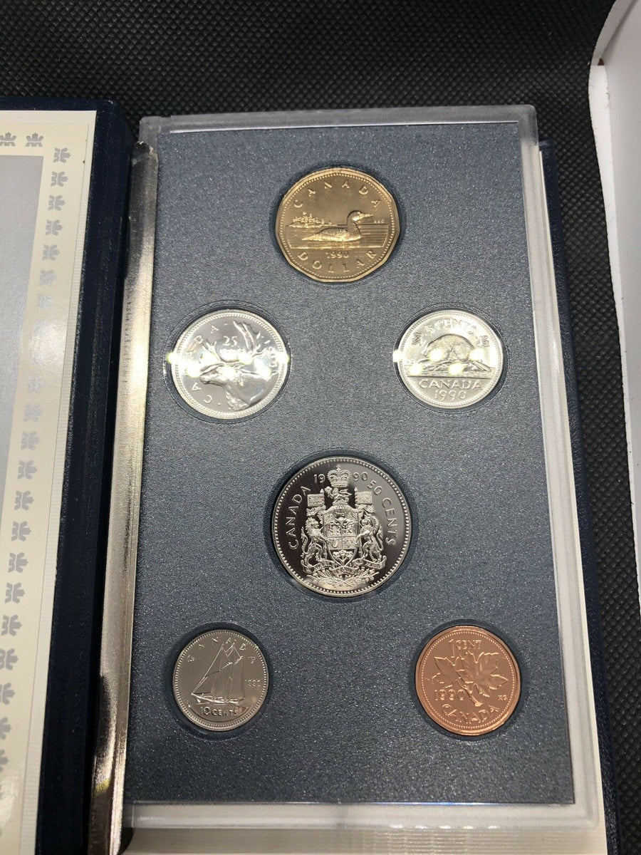 1990 ROYAL CANADIAN MINT SET 6 PIECE COINS IN ORIGINAL COA & BOX