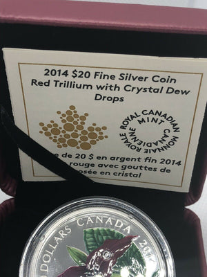 2014 $20 Fine Silver Coin- Red Trillium with Crystal Dew Drops