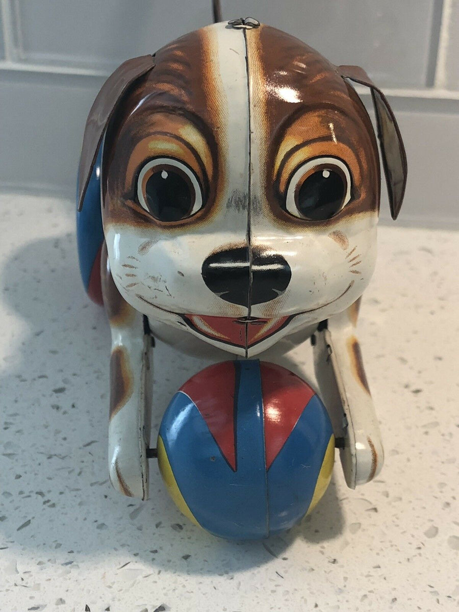 Vintage Haji Dog with Ball Tin Toy Made in Japan