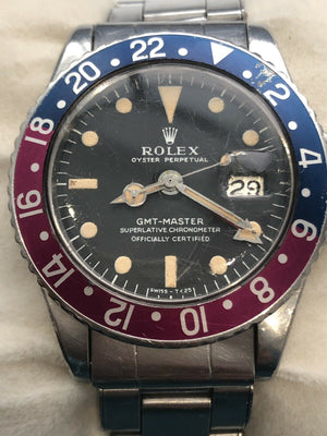 "1969 VINTAGE ROLEX GMT-MASTER AUTOMATIC MEN WATCH REF: 1675 ""Pepsi Dial"""