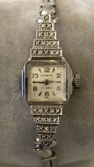 Vtg LADIES BENRUS BM 401 21J 14K WHITE GOLD DIAMOND ACCENT WATCH -Working