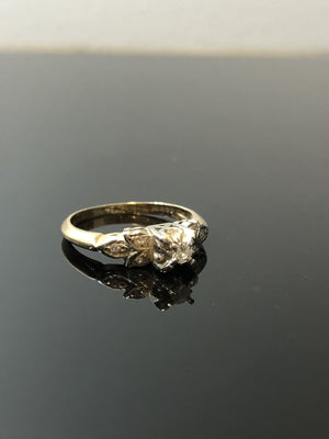 Ladies 14kt White-Yellow Gold Ring, One Round Brilliant Cut Diamond, Size 6