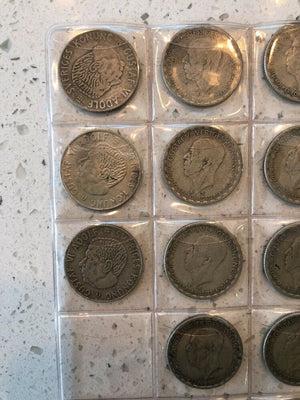 Lot of 20 Swedish Gustaf Adolf Coins Various Years from 1943 to 1967 .400 Silver
