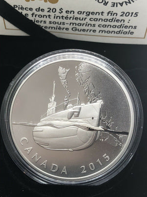2015 $20 Fine Silver Coin Canada's First Submarines During the First World War