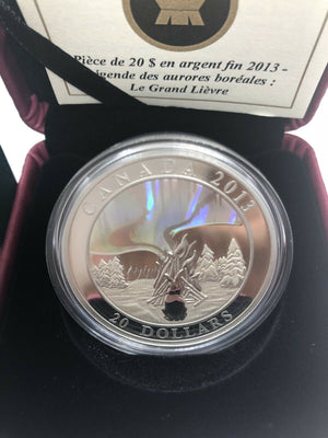 2013 $20 Fine Silver Coin- A Story of the Northern Lights - The Great Hare
