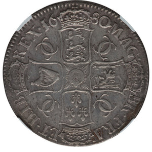 Great Britain: Charles II Crown 1680/79 XF Details (Mount Removed) NGC