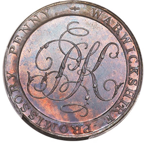 Great Britain: Warwickshire. Peter Kempson copper Proof Penny Token 1796 PR66 Brown PCGS