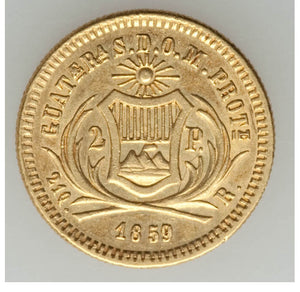 Guatemala: Republic gold 2 Pesos 1859-R UNC - Surface Hairlines