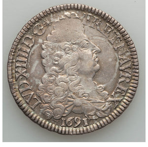 France: Louis XIV Ecu 1691-A XF - Surface Hairlines