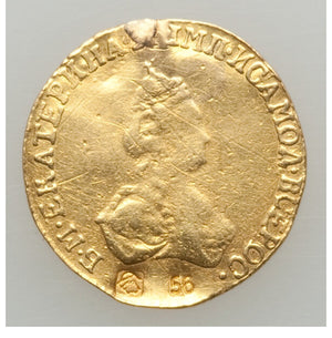 Russia: Catherine II Countermarked gold Rouble 1779 VF