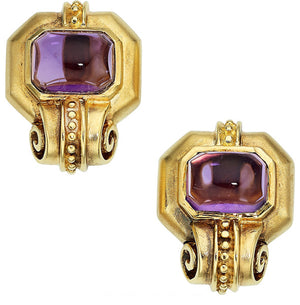 Amethyst, Gold Earrings