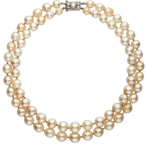 Diamond, Cultured Pearl, White Gold Necklace