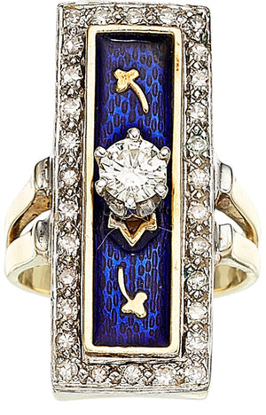 Diamond, Enamel, Gold Ring
