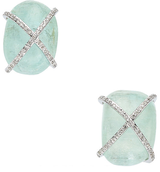 Aquamarine, Diamond, White Gold Earrings