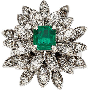 Emerald, Diamond, White Gold Ring
