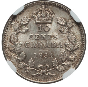 Canada: George V 10 Cents 1934 MS64 NGC