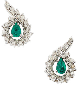 Emerald, Diamond, White Gold Earrings