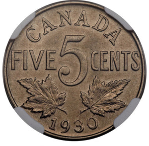 Canada: George V 5 Cents 1930 MS65 NGC