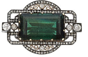 Edwardian Green Tourmaline, Diamond, Silver-Topped Gold Brooch