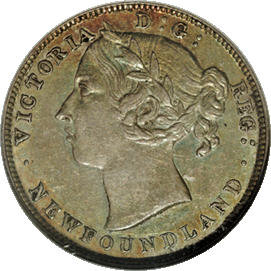 Canada: Newfoundland. Victoria 20 Cents 1890, KM4, AU55 NGC, lightly toned