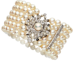 Cultured Pearl, Diamond, Platinum, White Gold Bracelet
