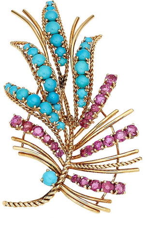 Turquoise, Ruby, Gold Brooch
