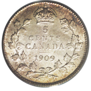Canada: Edward VII 5 Cents 1909 Pointed (Holly) Leaves, KM13, MS62 PCGS.
