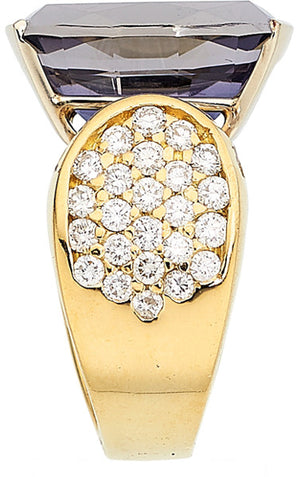 Iolite, Diamond, Gold Ring