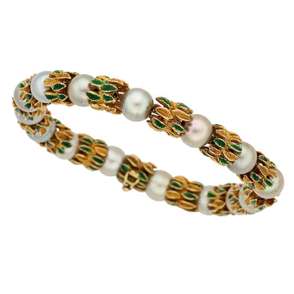 Cultured Pearl, Enamel, Gold Bracelet