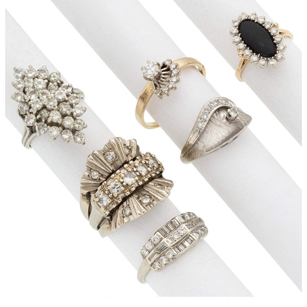 Diamond, Black Onyx, Gold Rings