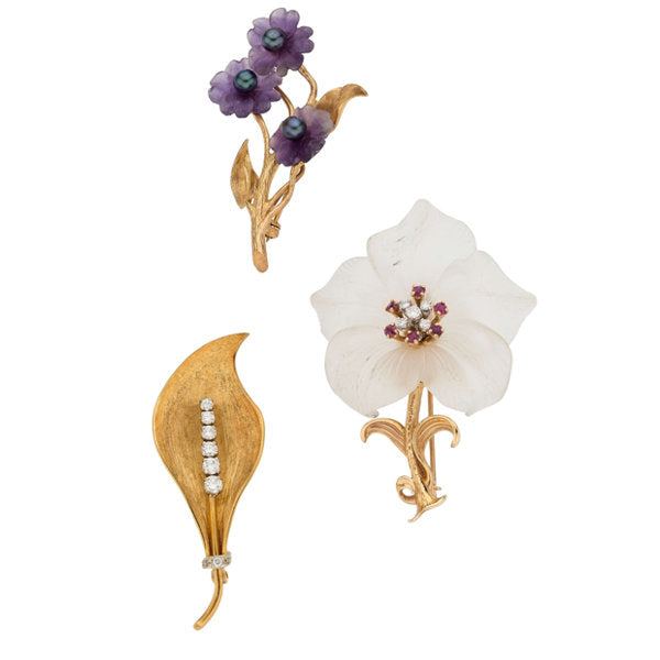 Diamond, Multi-Stone, Cultured Pearl, Gold Brooches