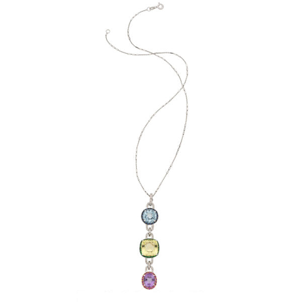 Diamond, Multi-Stone, White Gold Pendant-Necklace