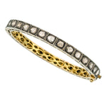 Diamond, Silver-Topped Gold Bracelet