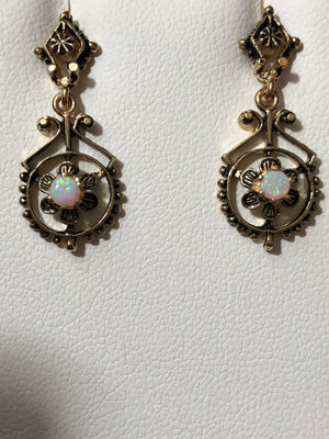 Ladies 14kt Gold Opal Drop Earrings, Cabochon Cut Natural Opals