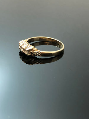 Ladies 14kt White-Yellow Gold Diamond Ring, 3 Round Brilliant Cut Diamonds, Size 6