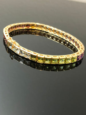 Ladies 14kt Gold Bracelet with 40 Square Step Cut Natural Gemstones