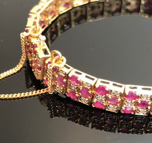 Ladies 14kt Gold Bracelet, with Rubies and Diamonds