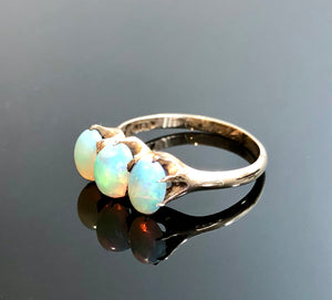Ladies 10kt Gold Ring, Hand Made, With Oval and Cabochon Cut Natural Opals, Size 6.5