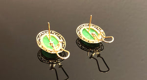 Ladies 14kt Gold Earrings, With Cabochon Cut Natural Jadelite, Jade