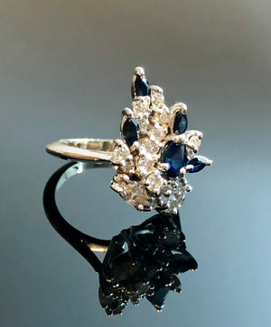 Ladies 14kt White Gold Ring, With Sapphires and Diamonds, Size 4.25